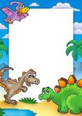Prehistoric frame with dinosaurs — Stock Photo