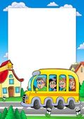 School frame with bus and kids — Stock Photo