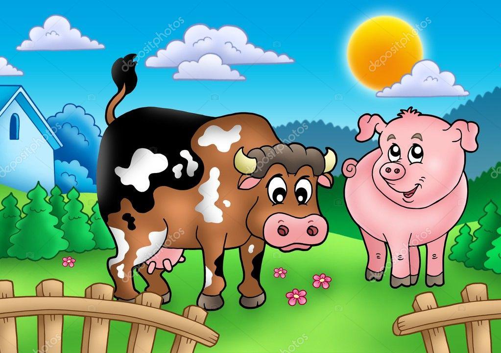 Cartone animato mucca e maiale dietro recinzione — foto