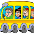 Cartoon school bus with kids — Stok Vektör