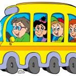 cartone animato scuola bus con bambini — Vettoriale Stock