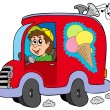 Stock Vector: Cartoon ice cream man in car