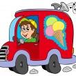 Cartoon ice cream man in car — Stock Vector