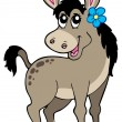Cute donkey with flower - Stock Vector