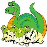 Dinosaur mom with cute babies — Stock Vector #3400556