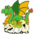 Royalty-Free Stock Vektorfiler: Dragon mom with baby and eggs