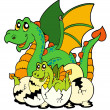 Royalty-Free Stock Immagine Vettoriale: Dragon mom with baby and eggs