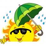 Lurking Sun with big umbrella — Stock Vector