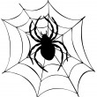 Silhouette of spider in web - Stock Vector