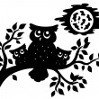 Stock Vector: Silhouette of three owls on branch