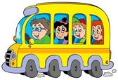 Cartoon school bus with kids — Stock Vector