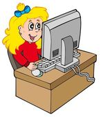 Cartoon girl working with computer — Stock Vector