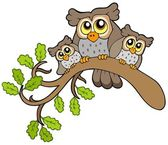 Three cute owls on branch — Stock Vector