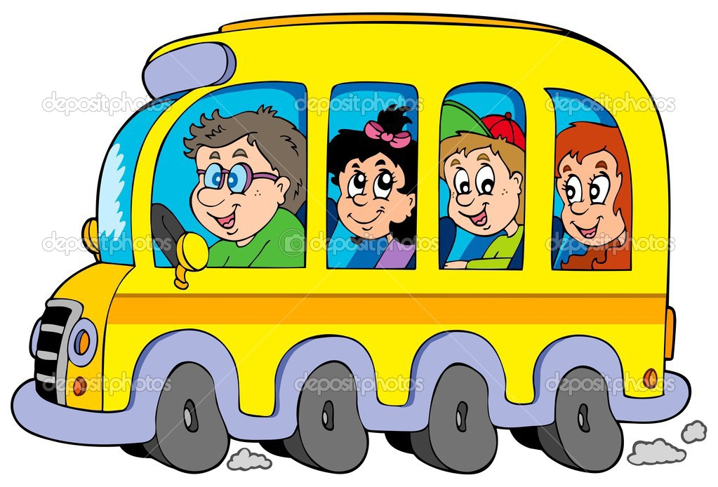 Cartoon school bus with kids stock illustration