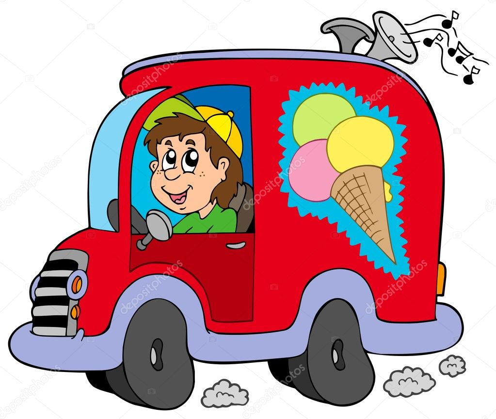Cartoon ice cream man in car - vector illustration. — Stock Vector #3400551
