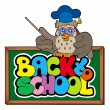 Royalty-Free Stock Vector Image: Back to school sign with owl lector
