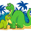 Stock Vector: Cartoon dinosaur family