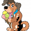 Cartoon dog eating ice cream — Vector de stock