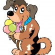 Cartoon dog eating ice cream — ストックベクタ