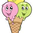 Cute cartoon ice cream — Stockvektor