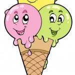 Cute cartoon ice cream — Stock Vector