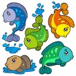 Freshwater fishes collection — Stock Vector