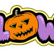 Halloween sign with pumpkin — Imagen vectorial