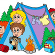 Group of camping kids — Stock Vector #3569436