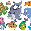 Royalty-Free Stock Vector Image: Happy sea animals collection
