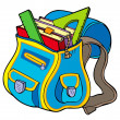 School bag with books — Stock Vector