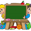 School chalkboard with two kids - Stock Vector