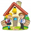 Stock Vector: Small school with kids in uniforms