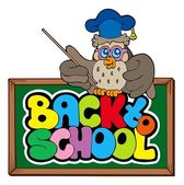 Back to school sign with owl lector — Stock Vector