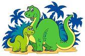 Cartoon dinosaur family — Stock Vector
