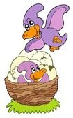 Cartoon pterodactyl mom and baby — Stock Vector