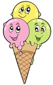 Cute cartoon ice cream — Stock vektor