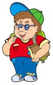 Fat school boy — Stock Vector