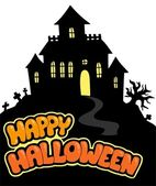 Happy Halloween sign with house — Stock Vector
