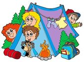 Group of camping kids — Stock Vector