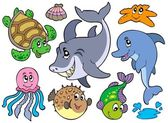 Happy sea animals collection — Stock Vector
