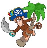 Pirate monkey with palm tree — Stock Vector