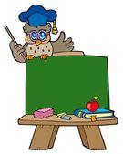 School chalkboard with owl teacher — Stock Vector