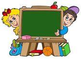 School chalkboard with two kids — Stock Vector