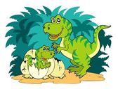Tyrannosaurus rex family — Stock Vector