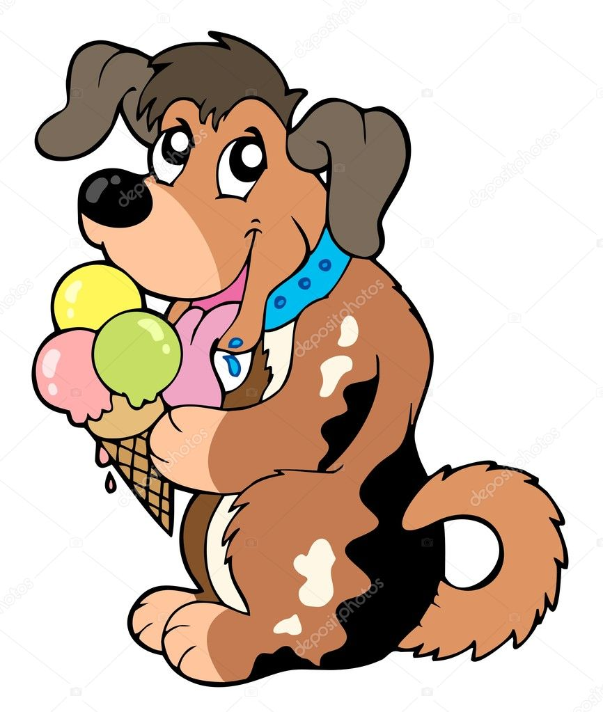 Cartoon dog eating ice cream - vector illustration.  Stock Vector #3569397