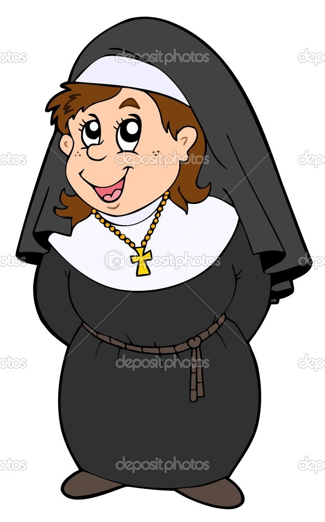 Happy nun on white background - vector illustration.  Stock Vector #3569435