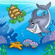 Stock Photo: Cartoon animals underwater
