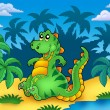Cute sitting dinosaur with palms - Stock Photo