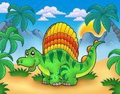 Pequeño dinosaurio en paisaje — Foto de Stock