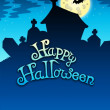 Happy Halloween sign with cemetery — Stock Photo